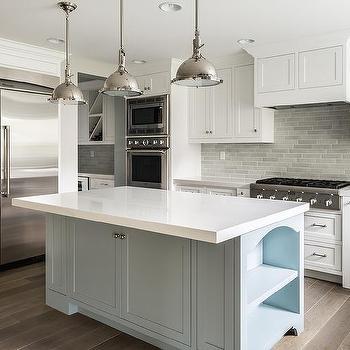 White Kitchen With Blue Brick Tile Backsplash