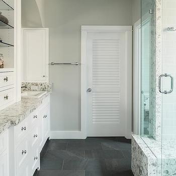 Water Closet With Louvered Door Contemporary Bathroom