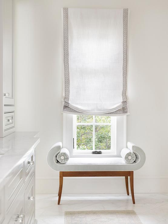 Bathroom With Gray Velvet Scroll Bench Transitional