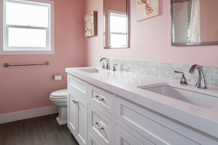 Beau Pink Girls Bathroom With Gray Glass Tiles