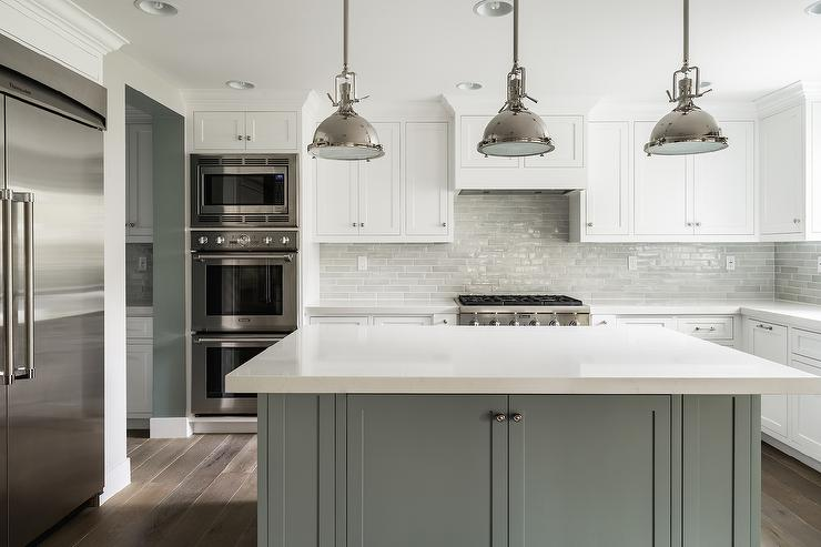 White kitchen with grey island transitional bathroom for Grey and white kitchen cabinets