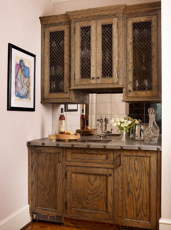 Gray wet bar cabinets with gold pulls transitional kitchen benjamin moore gunmetal - Wet bar cabinets ...