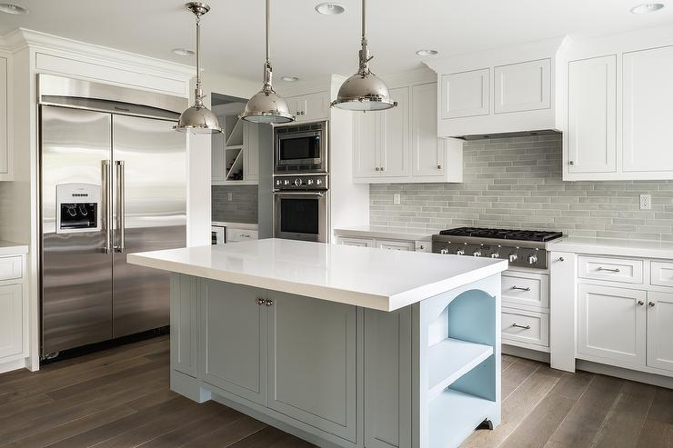 Wonderful White Kitchen Cabinets With Gray Brick Tile Backsplash