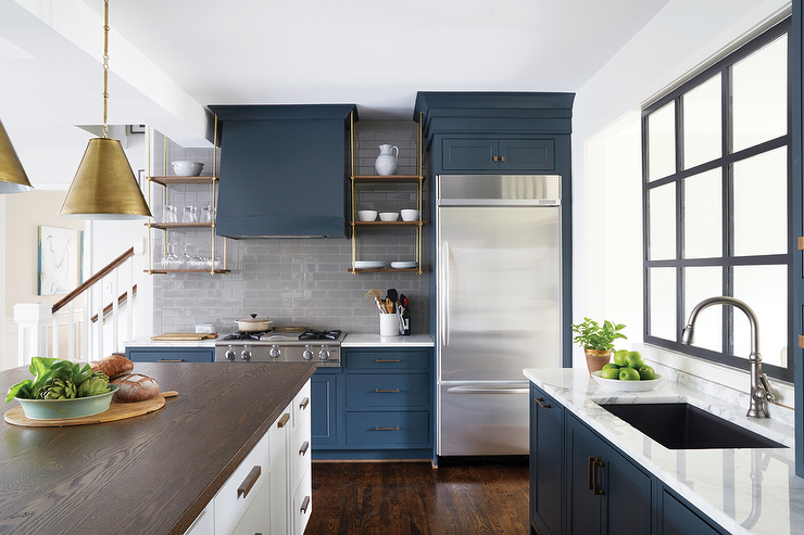 Wood and brass kitchen shelves suspended from the ceiling for Grey blue white kitchen