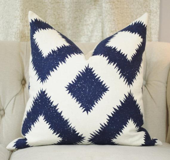 schumacher blue and white pillow cover