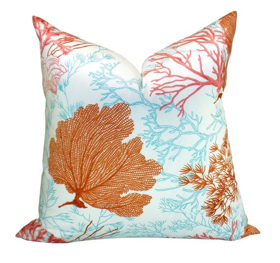 Thibaut Molokini Orange and Blue Pillow Cover
