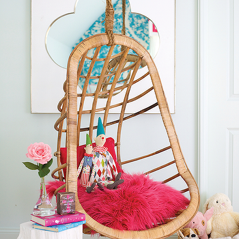 sweet teen girl 39 s room features a two 39 s company hanging rattan chair