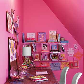 Bubble Gum Pink Kids Room With Acrylic Shelving Unit Ideas