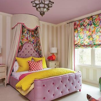 purple tufted kids bed