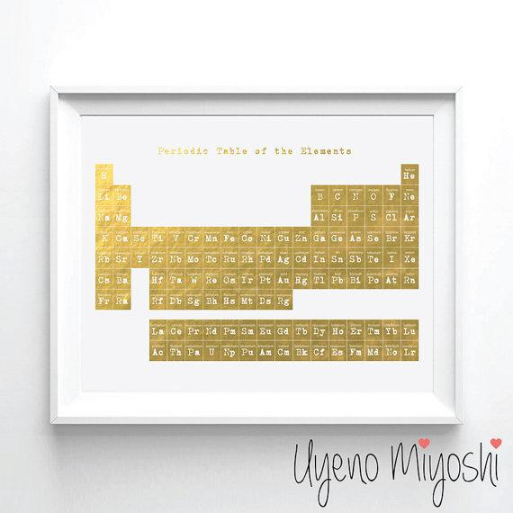 Periodic table gold foil print urtaz Choice Image