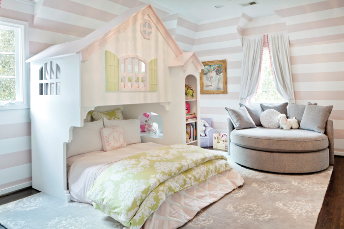 pink striped bedroom the stairs playhouse traditional basement 12883