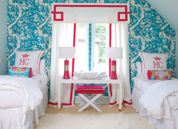 Orange and pink girls bedroom with tassel bed valance and - Turquoise and pink bedroom ...