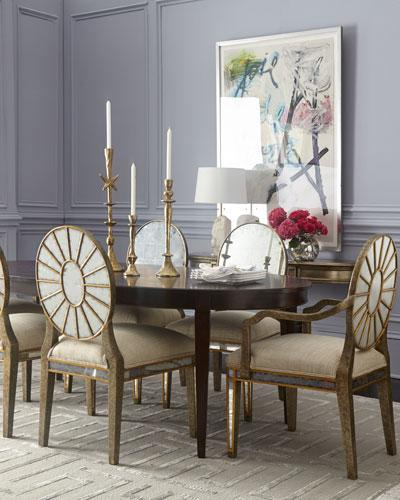 Allerton brown dining table and lela eglomise ivory mirrored dining allerton brown dining table and lela eglomise ivory mirrored dining chairs watchthetrailerfo
