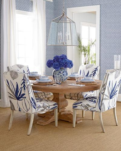 Allison Gray And Blue Botanical Chair And Taylor Brown Pedestal Table