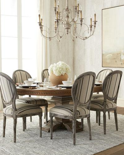 Captivating Brown Cartwright Dining Table And Brown Stripe Fanelli Dining Chair