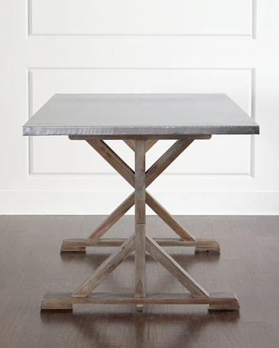 Mix Match Table Solid Wood Base Stainless Steel Top