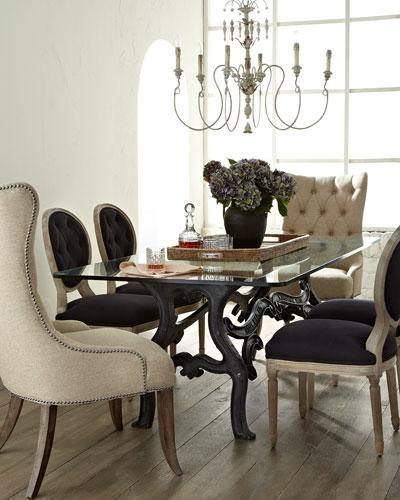 Stockard Black Dining Table And Donabella Natural Tufted Chairs Linen