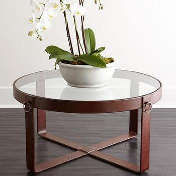 abbyson living havana round ivory tufted leather coffee table