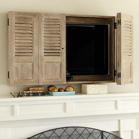 Washed Brown Shutter Tv Wall Cabinet
