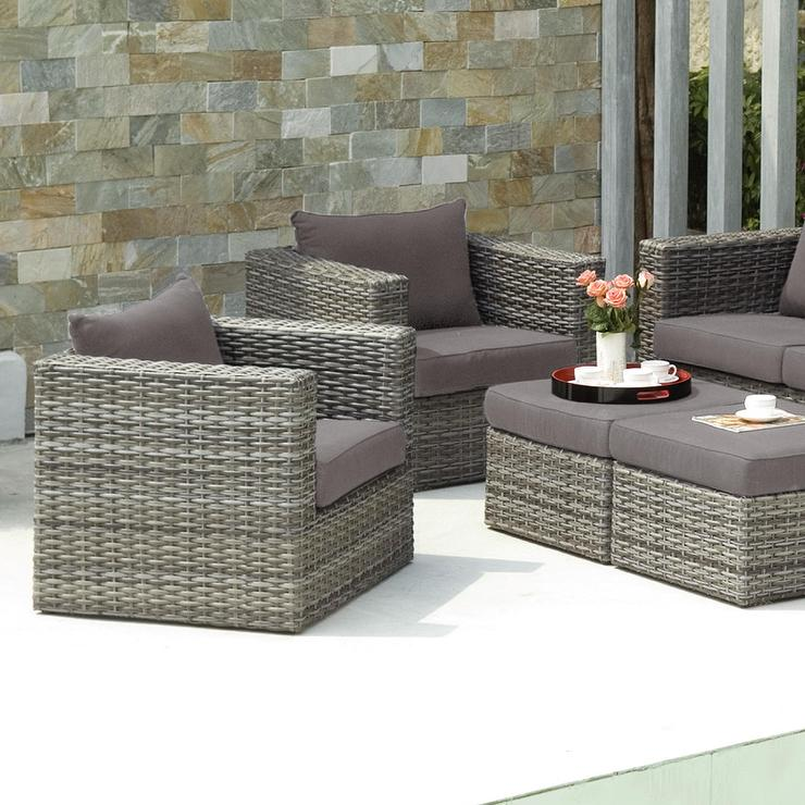 Upton Home Brixton Gray Outdoor Wicker Chair And Ottoman Pc Set - Gray wicker coffee table