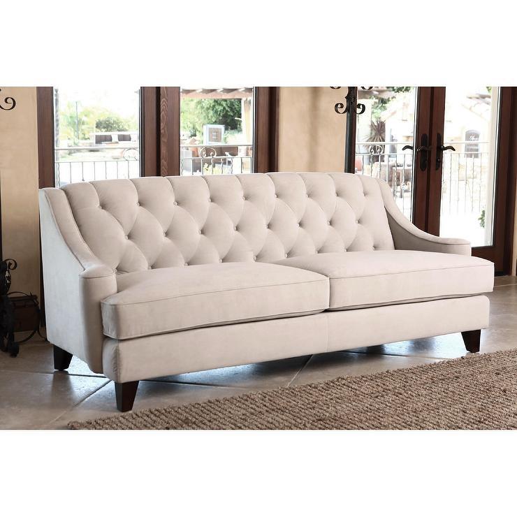 Abbyson Living Claridge Beige Velvet Fabric Tufted Sofa