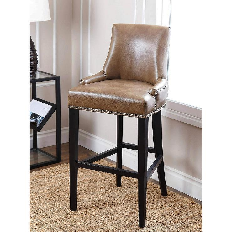 Abbyson Living Newport Brown Leather Nailhead Trim Bar Stool