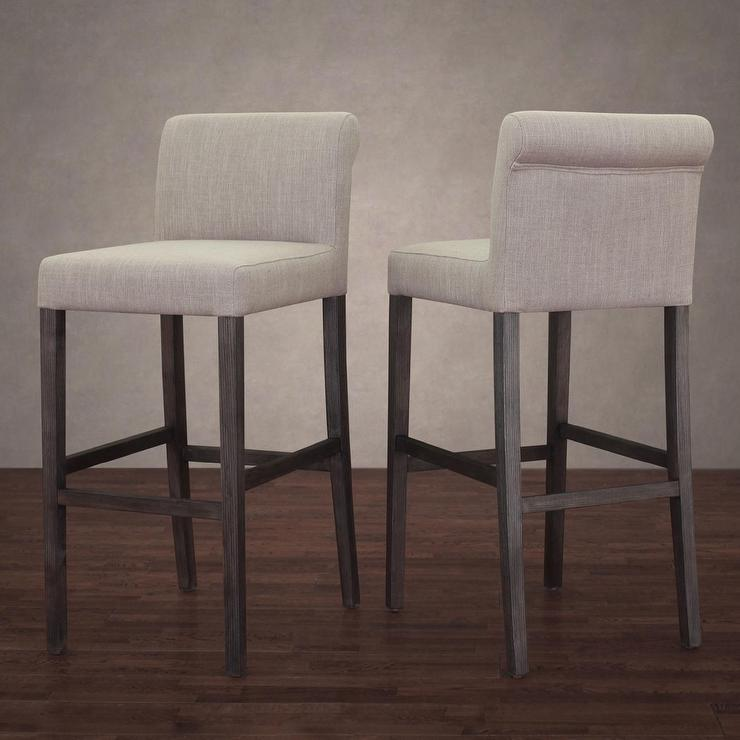 Renate Linen Whitewash Bar Stools