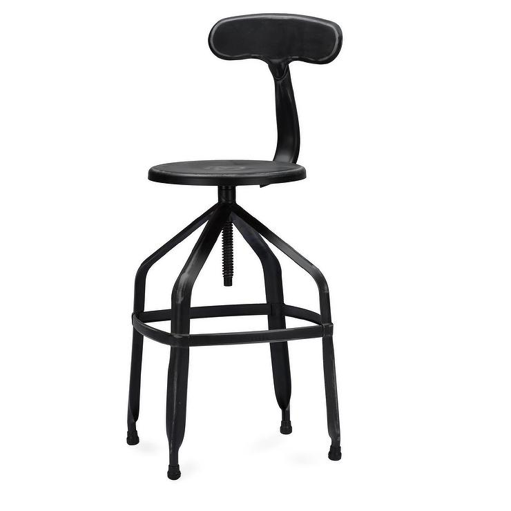 Architects Industrial Antiqued Black Bar Stool With Backrest
