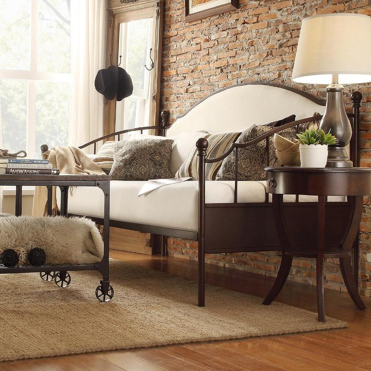 Greatest INSPIRE Q Andover Upholstered Curved Top Cherry Brown Metal Daybed BQ98