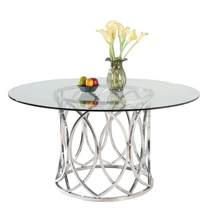 Somette Colette Round Stainless Steel Silver Dining Table Pictures Gallery