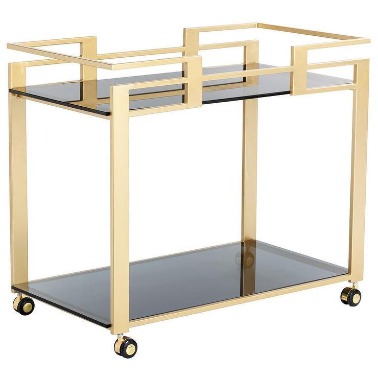 Sunpan Avondale Gold Bar Cart