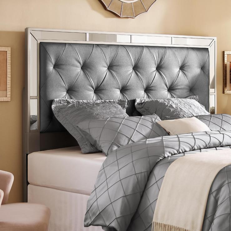silver queen or full size upholstered tufted mirrored headboard - Mirror Bed Frame