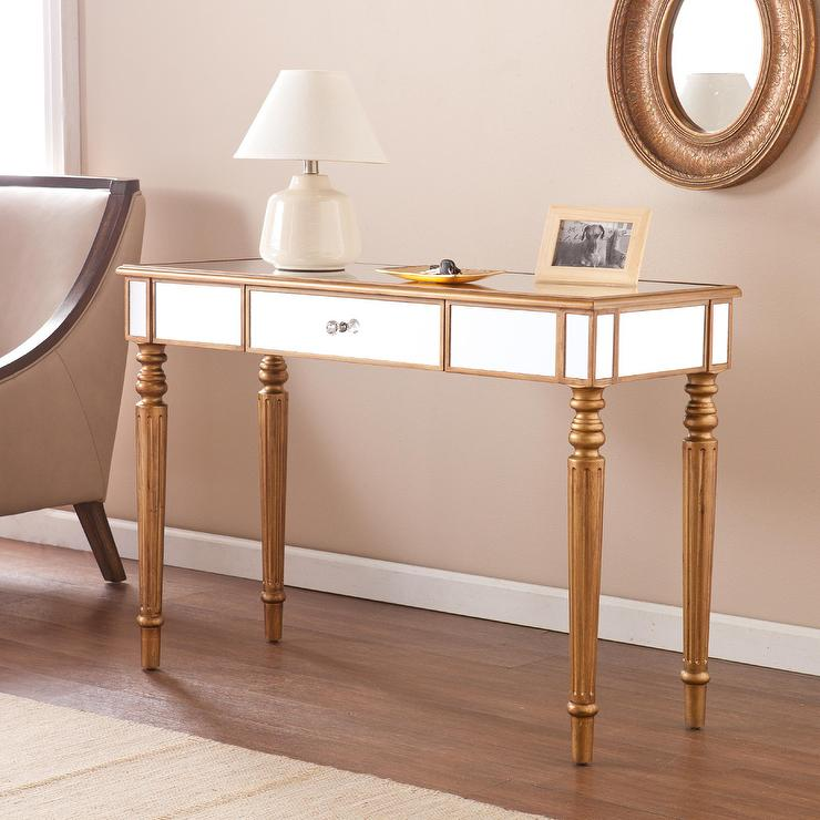 Upton Home Champagne Gold Fontaine Mirrored Sofa Console Table