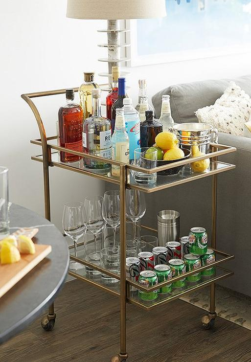 Gold Bar Cart As End Table Design Ideas