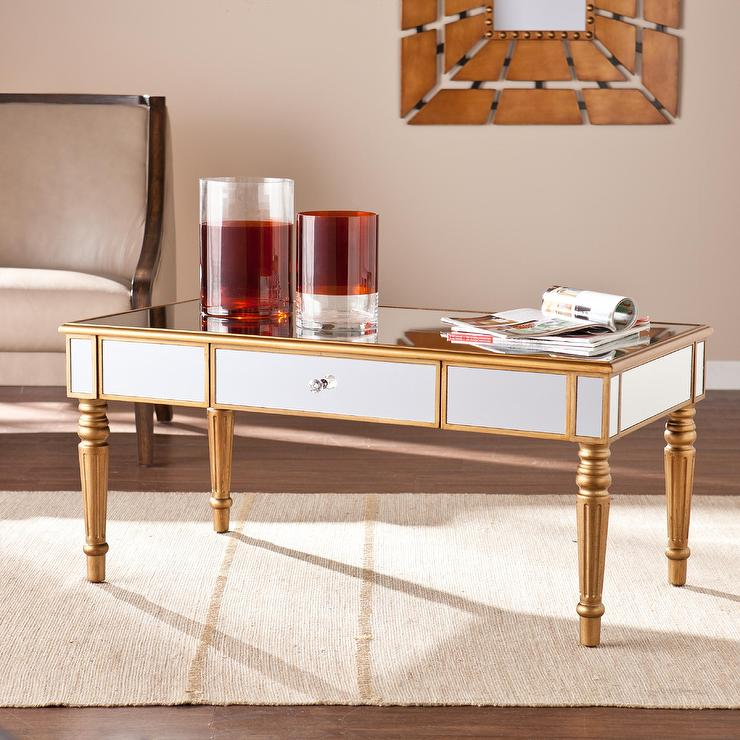 Upton Home Champagne Gold Fontaine Mirrored Cocktail Coffee Table