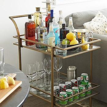 worlds away roland bar cart with blue accents transitional living room. Black Bedroom Furniture Sets. Home Design Ideas