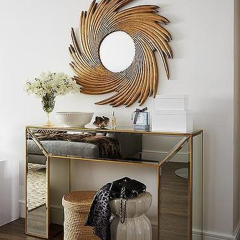 Gold Antiqued Mirrored Console Table Design Ideas