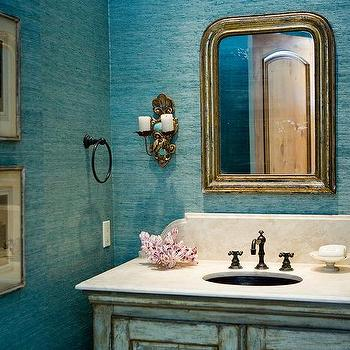 Powder Room With Turquoise Grasscloth Wallpaper
