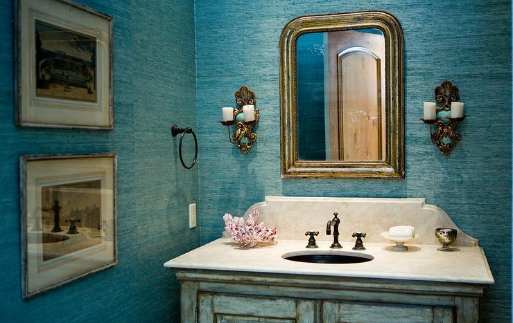 Powder Room with Turquoise Grasscloth Wallpaper - Cottage