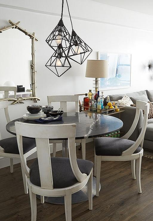 Round Black Dining Table With White Dining Chairs Contemporary