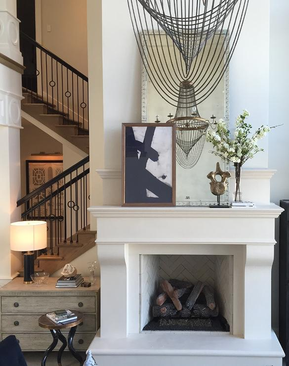 Mirror And Art Over Fireplace Transitional Living Room