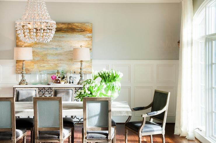 Dining Room With Decorative Wall Moldings Transitional