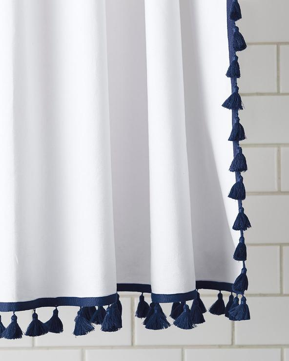 Captivating Navy And White French Tassel Shower Curtain