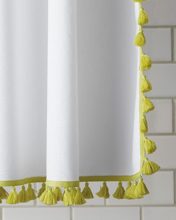 Yellow And White French Tassel Shower Curtain