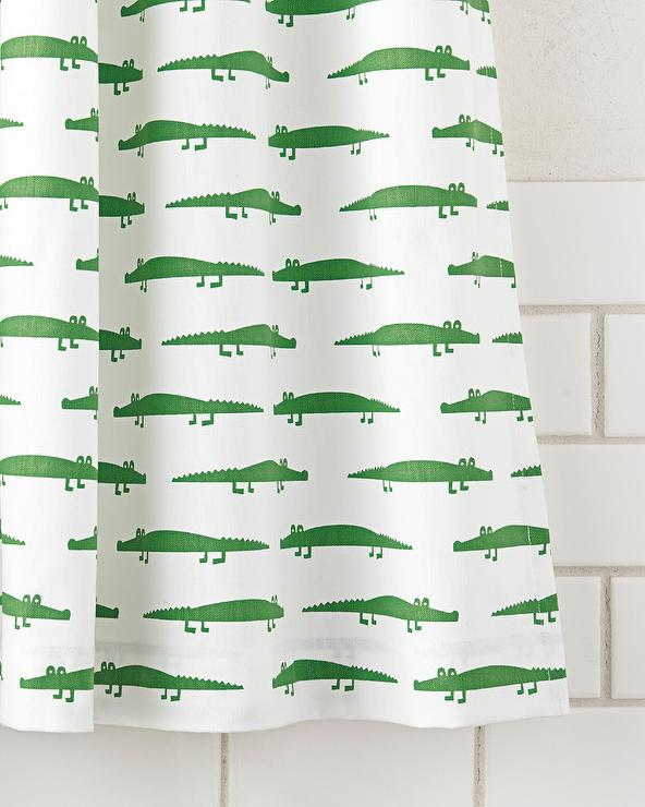 Alligator Green And White Shower Curtain