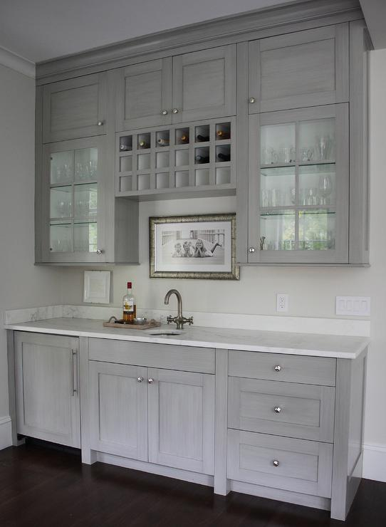 Grey Butlers Pantry With Built In Wine Rack Transitional