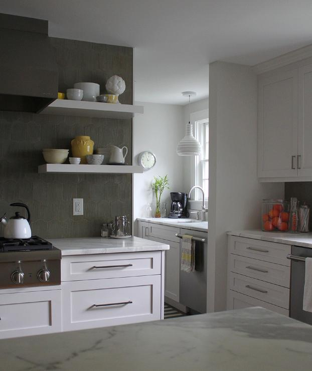 White Kitchen Floating Shelves: White And Gray Kitchen With Pops Of Yellow