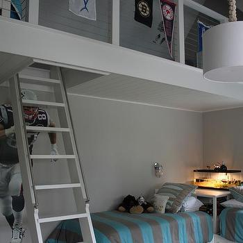 Gray Loft Beds With Gray Built In Staircase Cottage Boy S Room