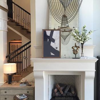 Abstract Art Over Fireplace Design Ideas