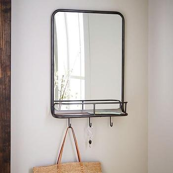 Horizontal Black Brown Entryway Mirror And Hooks